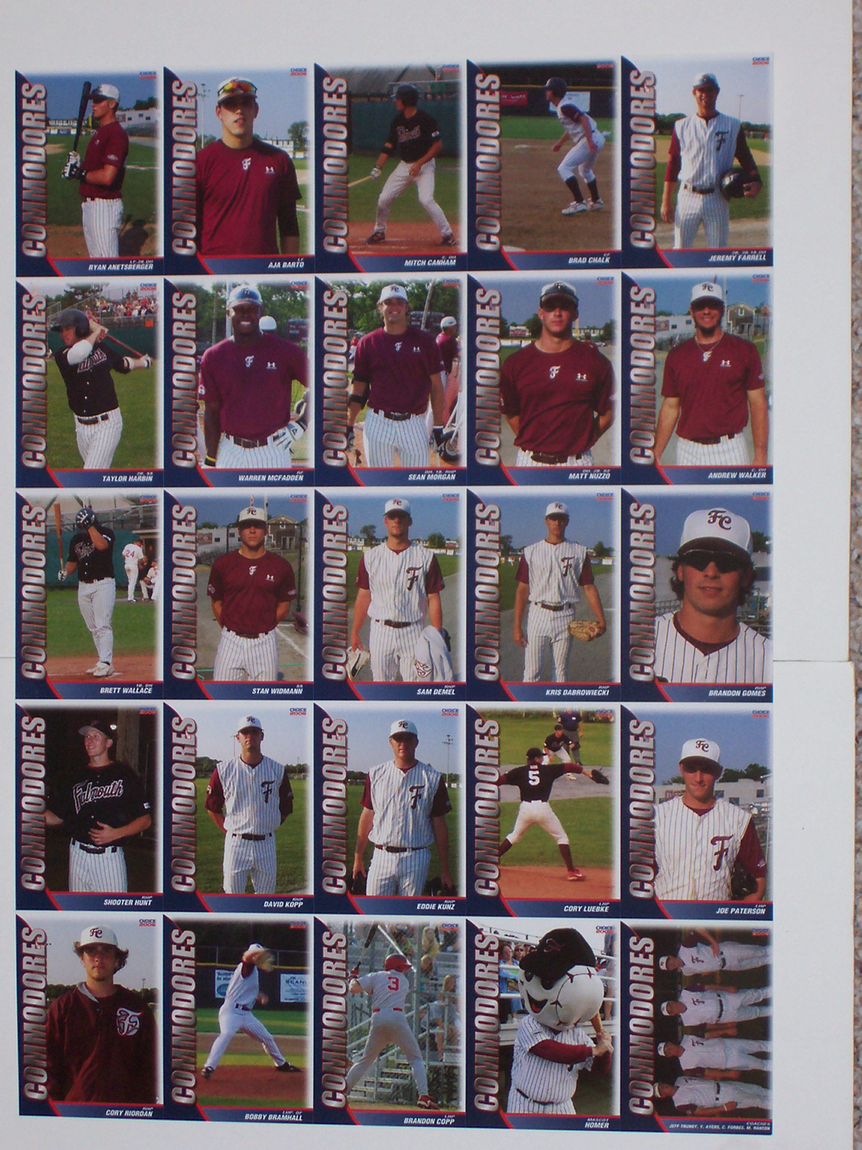 2006 Falmouth Commodores Player Cards uncut sheet