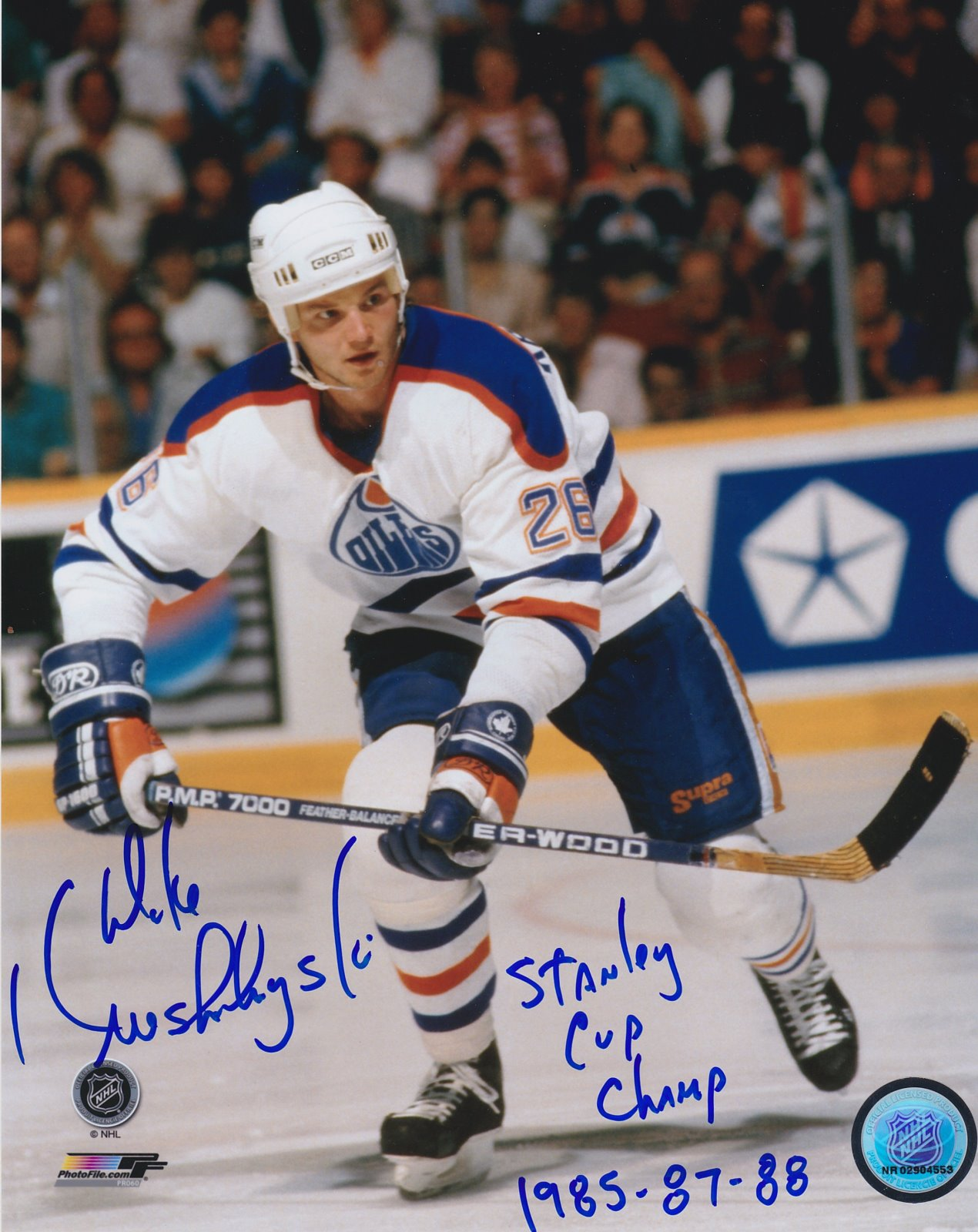 Mike Krushelnyski Autograph 8x10 Color photo Edmonton Oilers