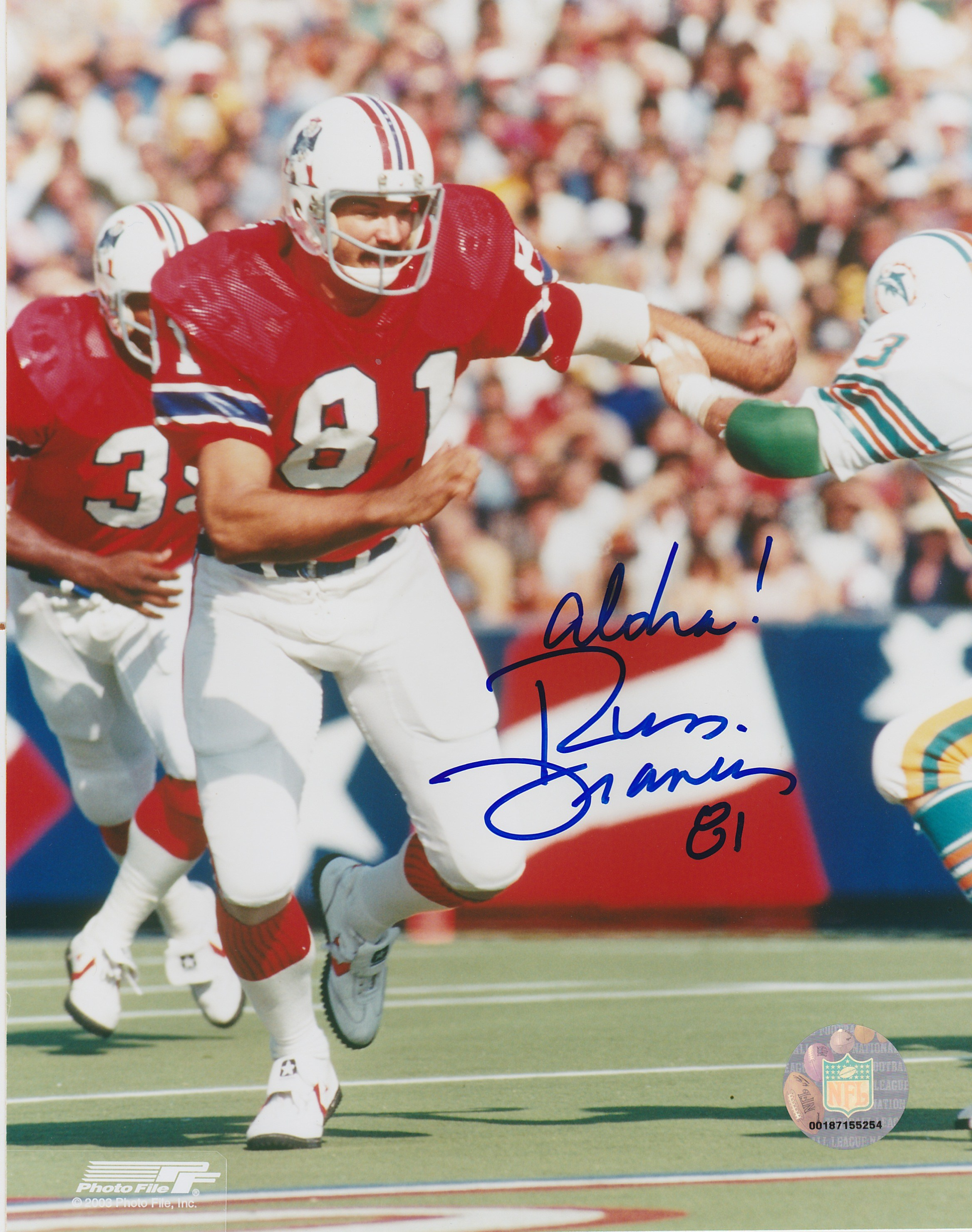 Russ Francis Autograph 8x10 Color photo New England Patriots