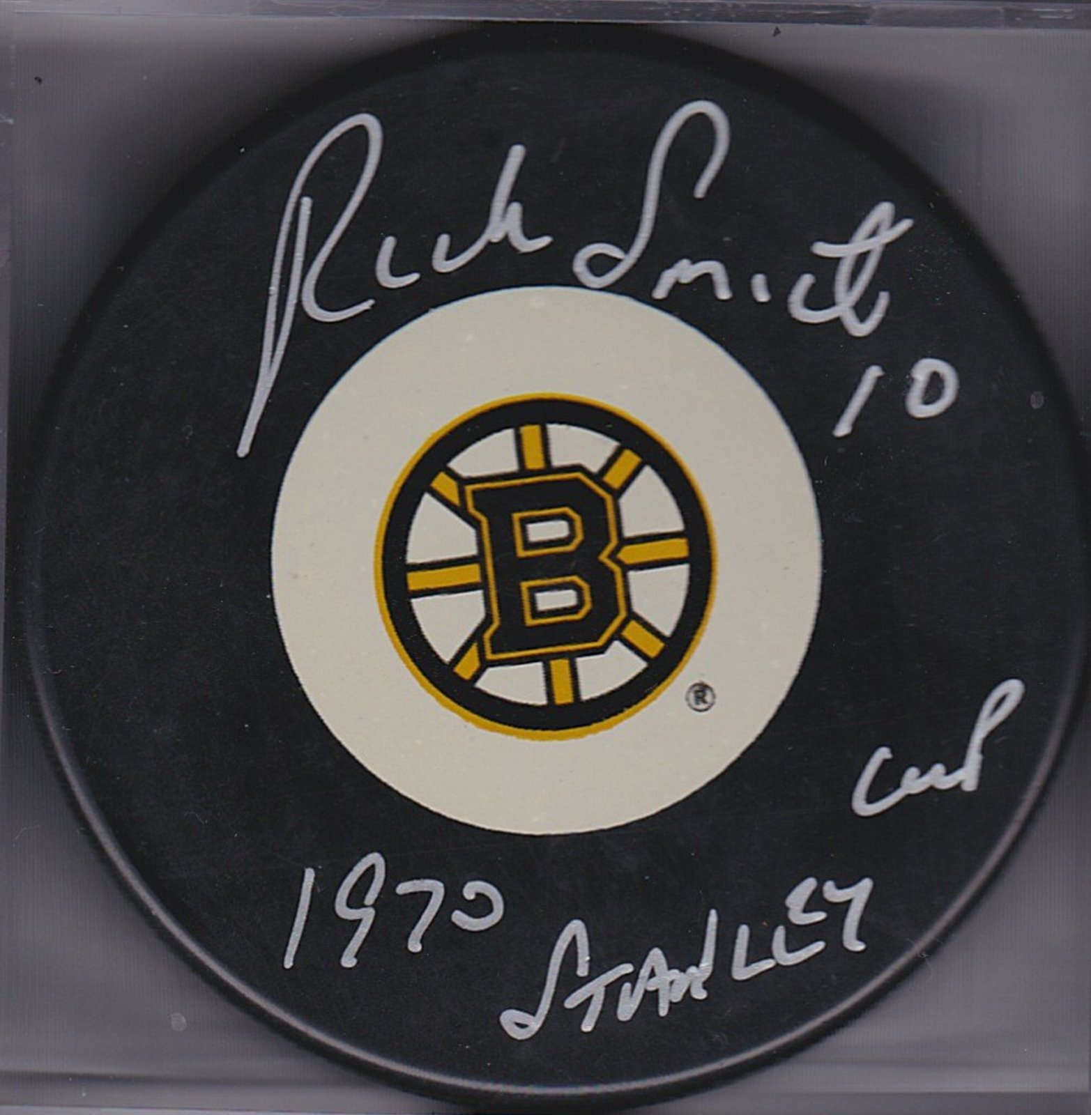 Rick Smith Autograph Boston Bruins Logo puck