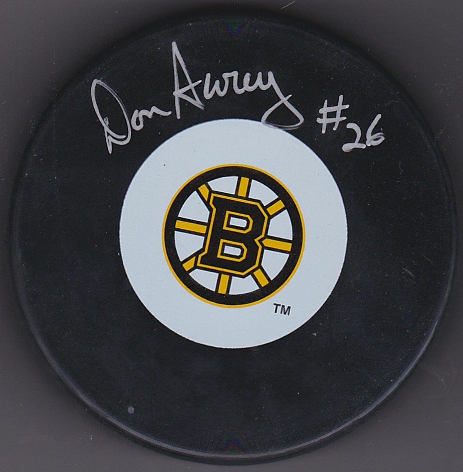 Don Awrey Autograph Boston Bruins Logo puck