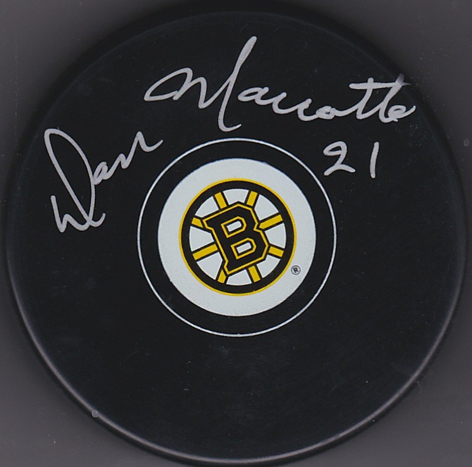 Don Marcotte Autograph Boston Bruins Logo puck