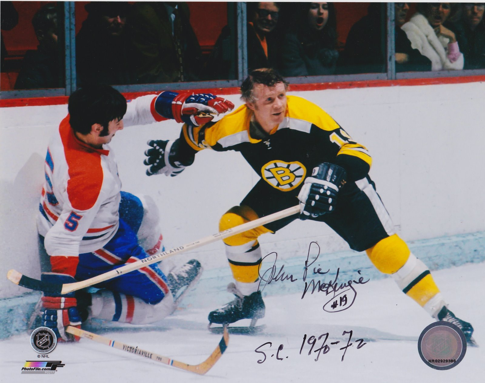 John McKenzie Autograph 8x10 Color photo Boston Bruins