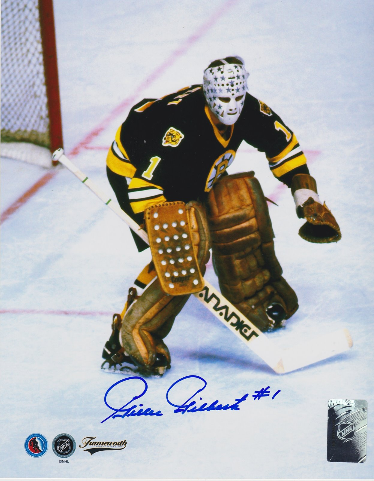 Gilles Gilbert Autograph 8x10 Color photo Boston Bruins