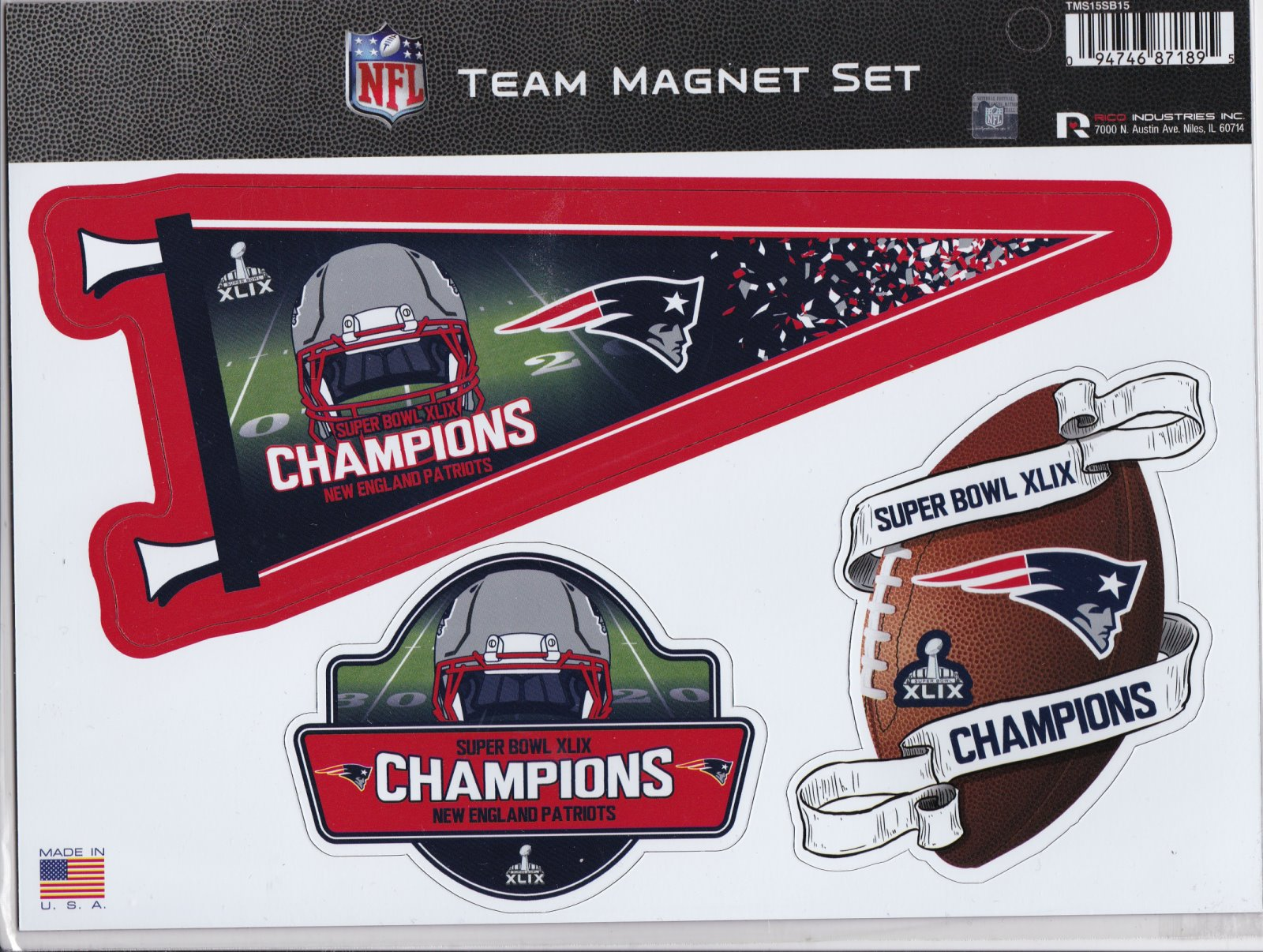 New England Patriots Super Bowl XLIX Champions Team Magnet Set