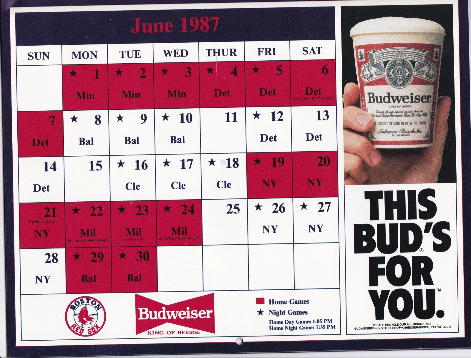 1987 Boston Red Sox Official Calendar American League Champions