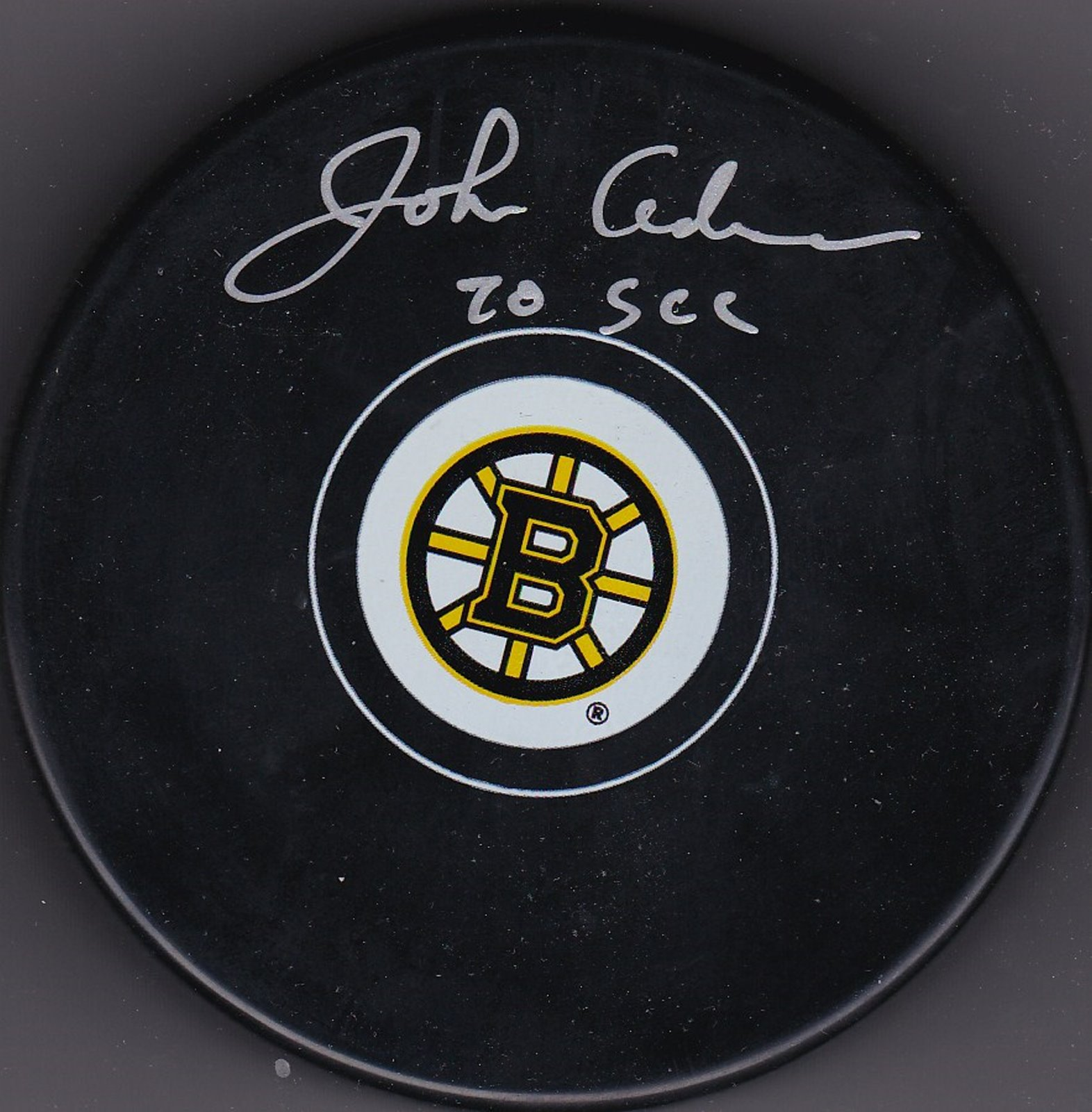 John Adams Autograph Boston Bruins Logo puck Stanley Cup 1970