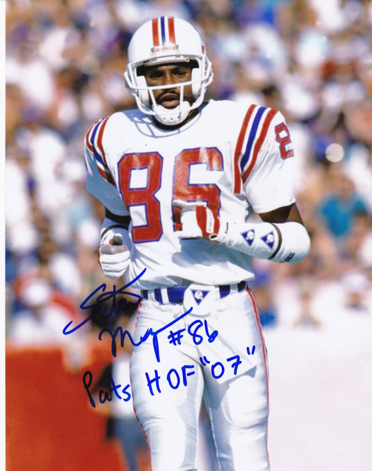 Stanley Morgan Autograph 8x10 Color photo New England Patriots