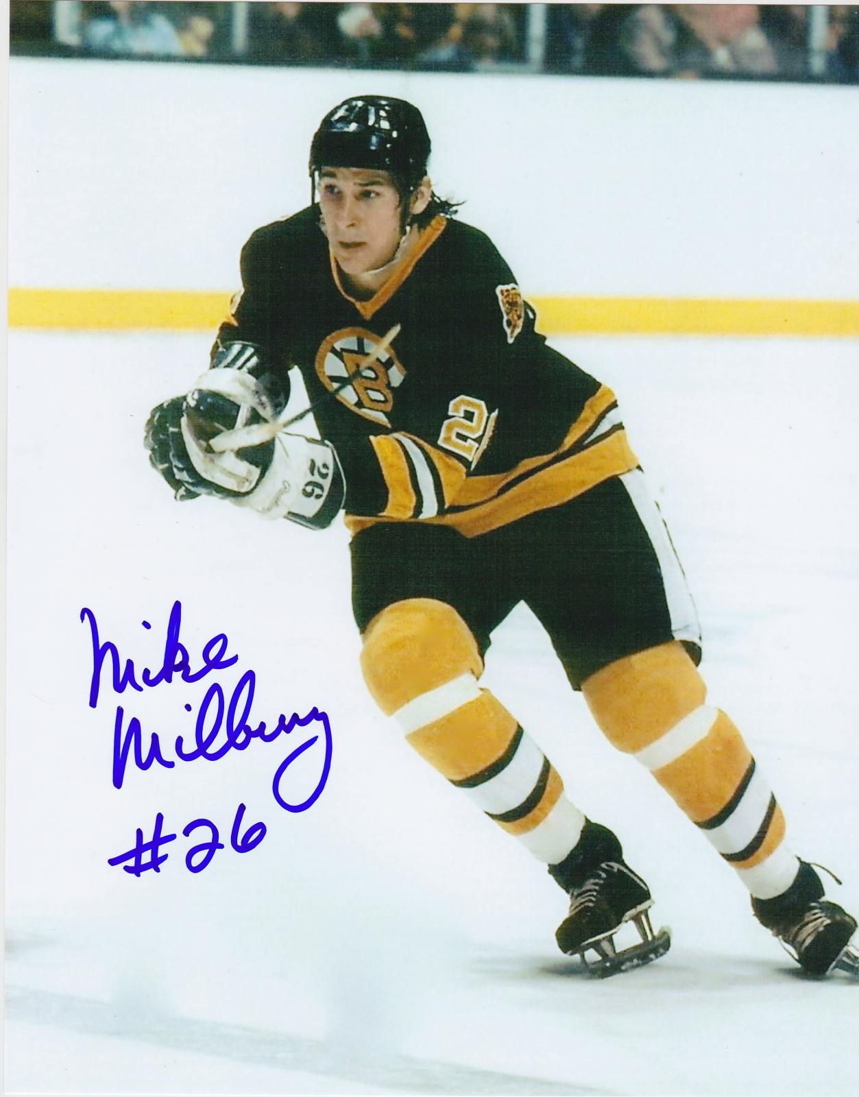 Mike Milbury Autograph 8x10 Color photo Boston Bruins