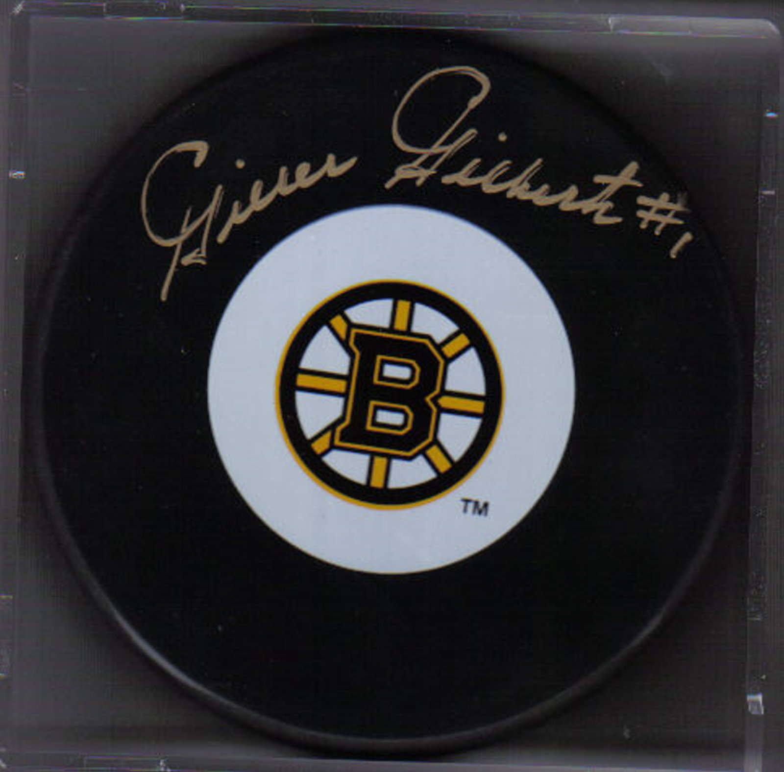 Gilles Gilbert Autograph Boston Bruins Logo puck