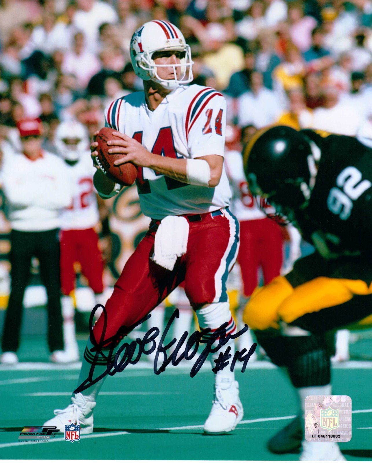 Steve Grogan Autograph 8x10 Color photo New England Patriots