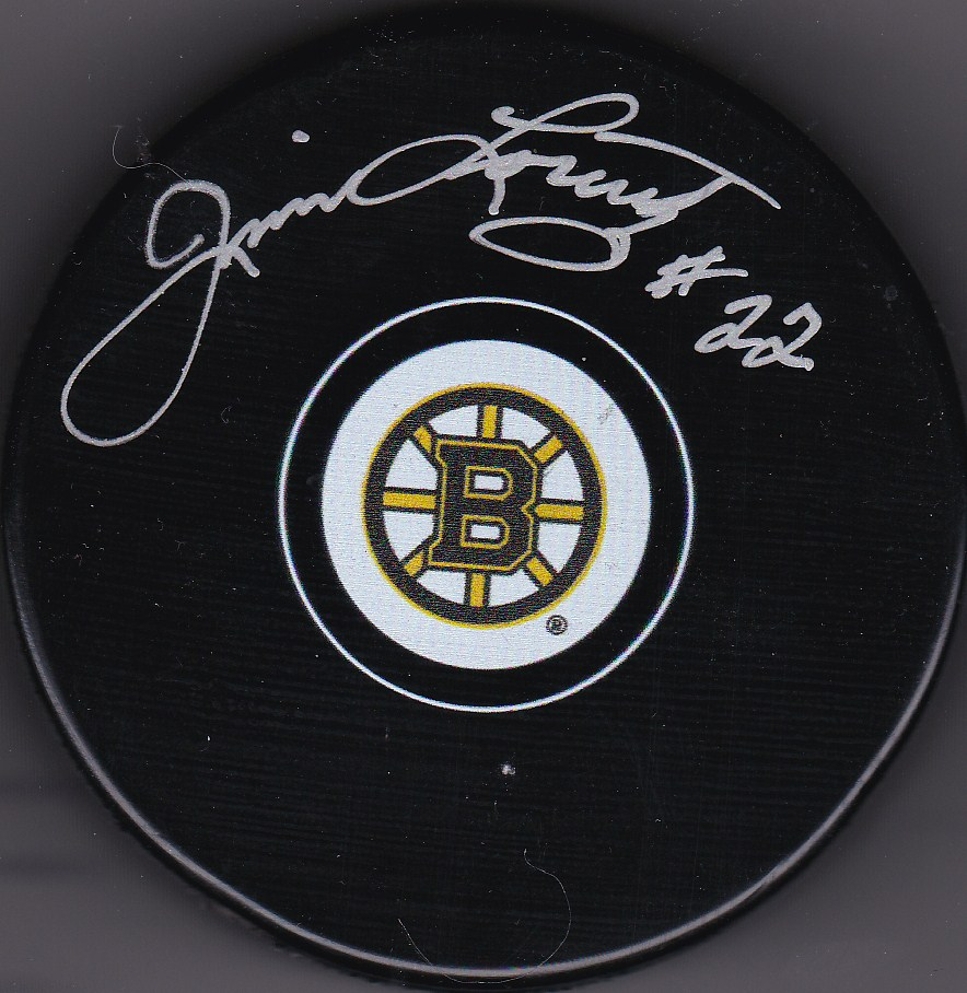 Jim Lorentz Autograph Boston Bruins Logo puck