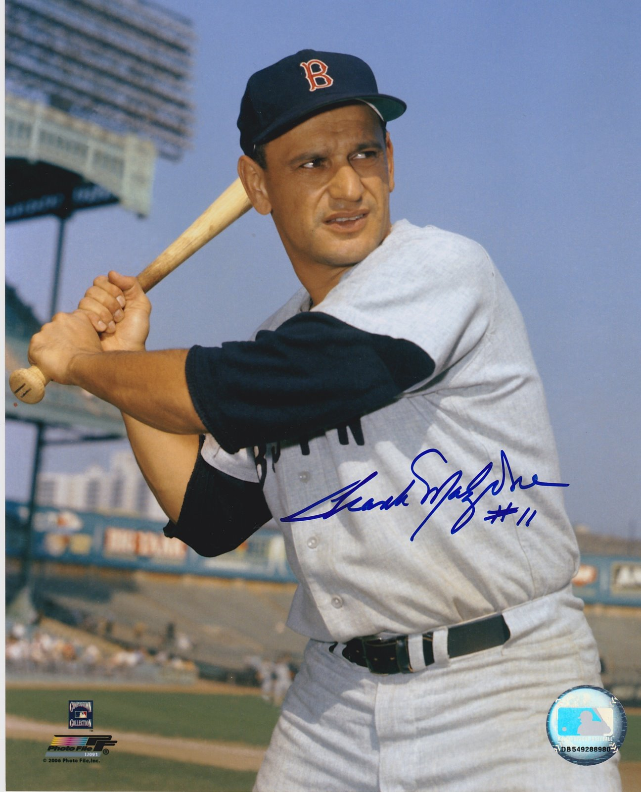 Frank Malzone Autograph 8x10 Color photo Boston Red Sox