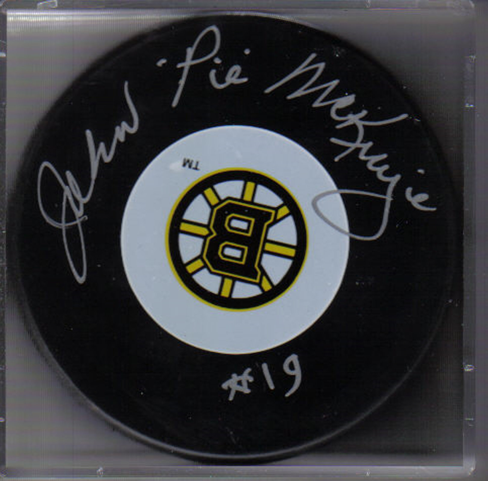 "John ""Pie"" McKenzie Autograph Boston Bruins Logo puck"