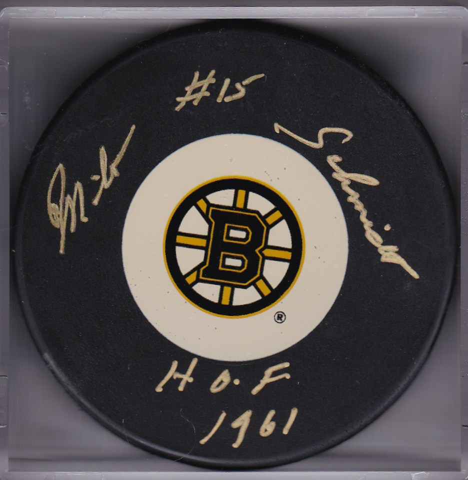 Milt Schmidt Autograph Boston Bruins Logo puck