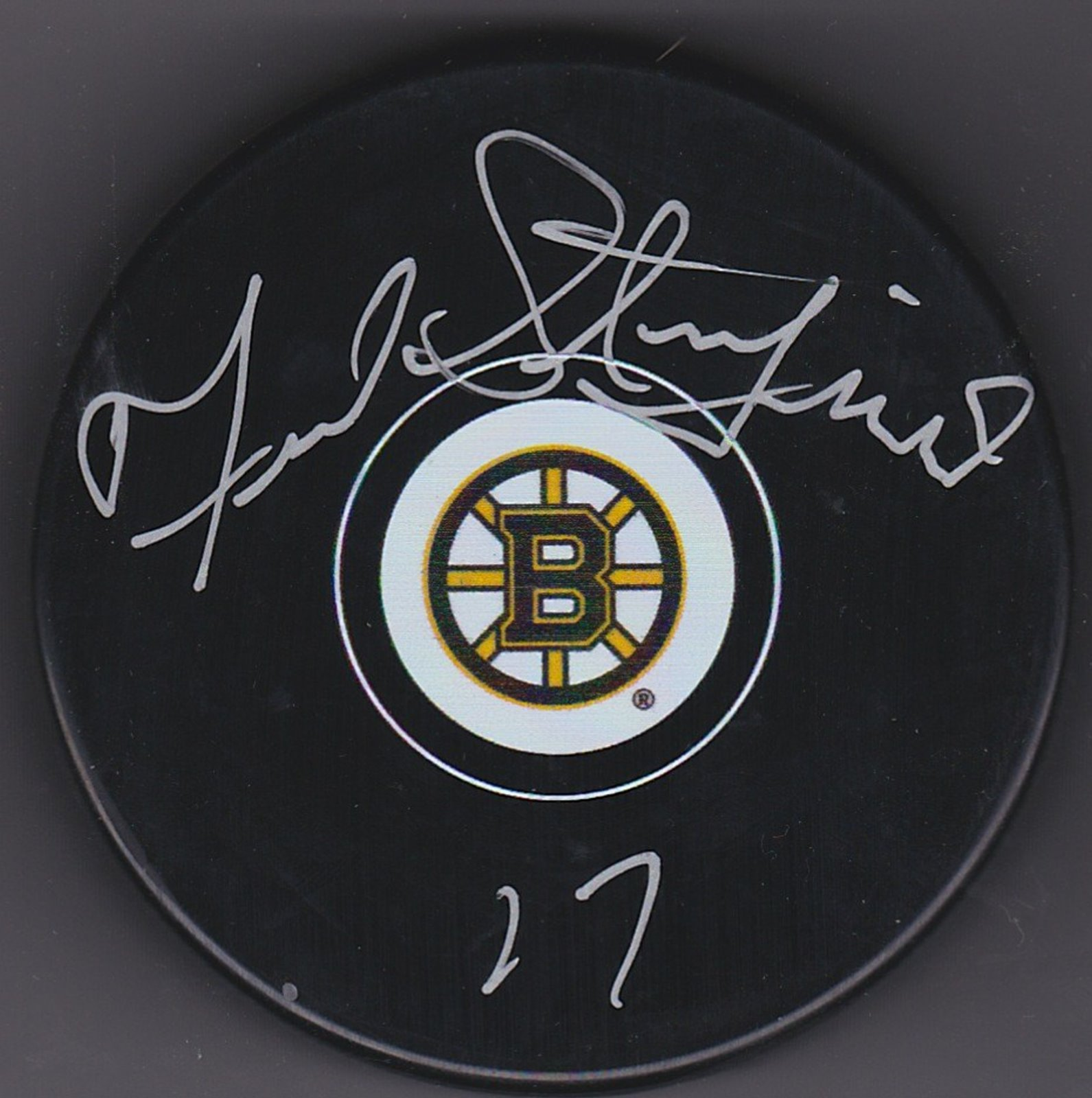 Fred Stanfield Autograph Boston Bruins Logo puck
