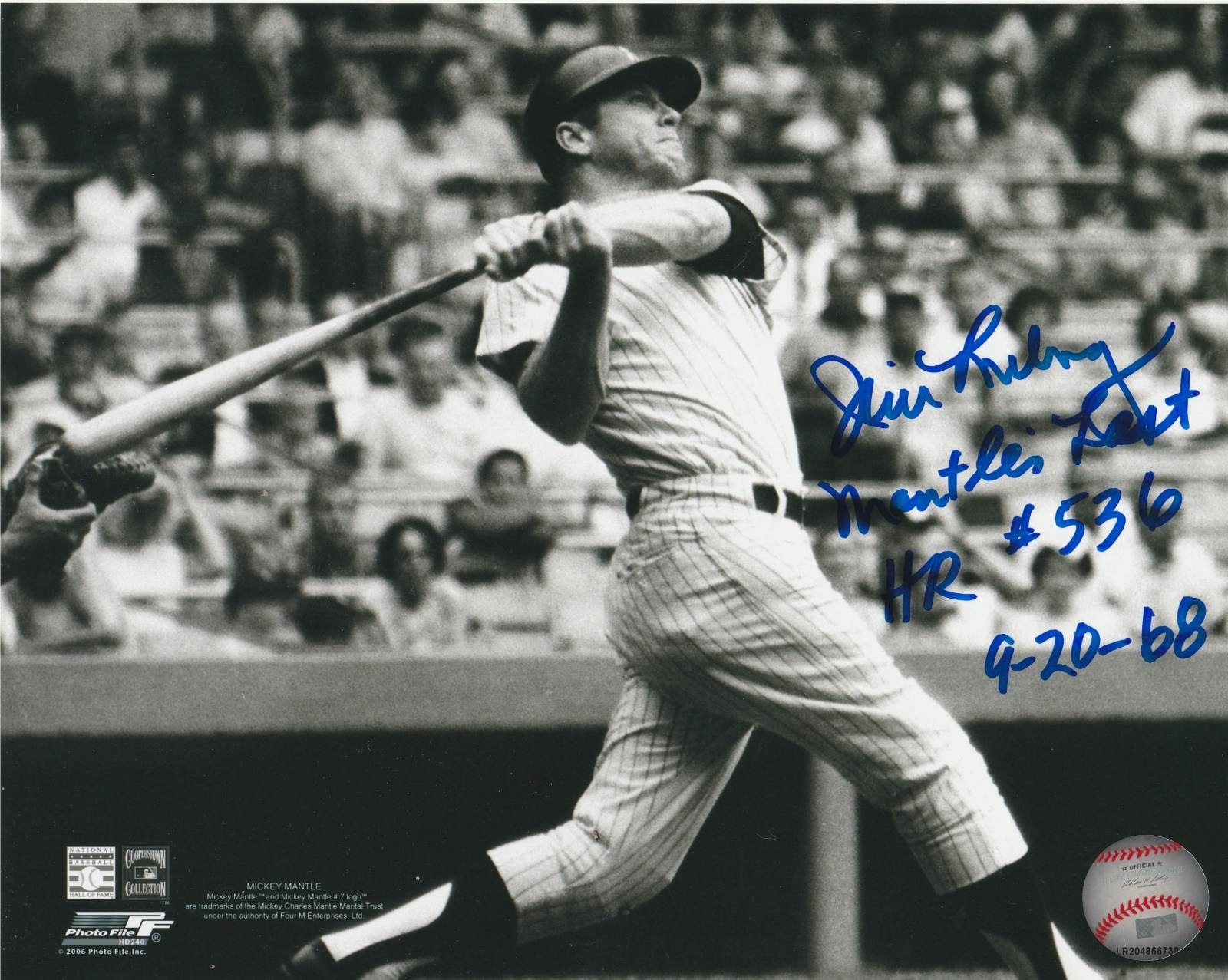 Jim Lonborg Boston Red Sox Autograph 8x10 B&W photo of Mantle's Last HR